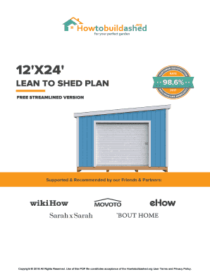 Fillable Online Free 12x24 Storage Shed Plan By