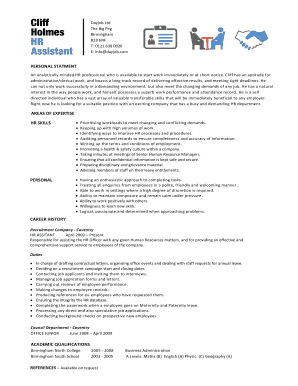 hr administrative assistant resume