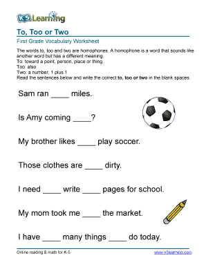 Fillable Online Vocabulary1st grade homophones words - printable ...