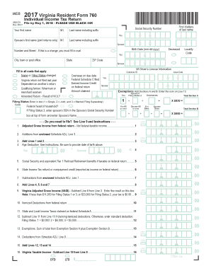 2017 Virginia Resident Form 760- Individual Income Tax Return. 2017 Virginia Resident Form 760