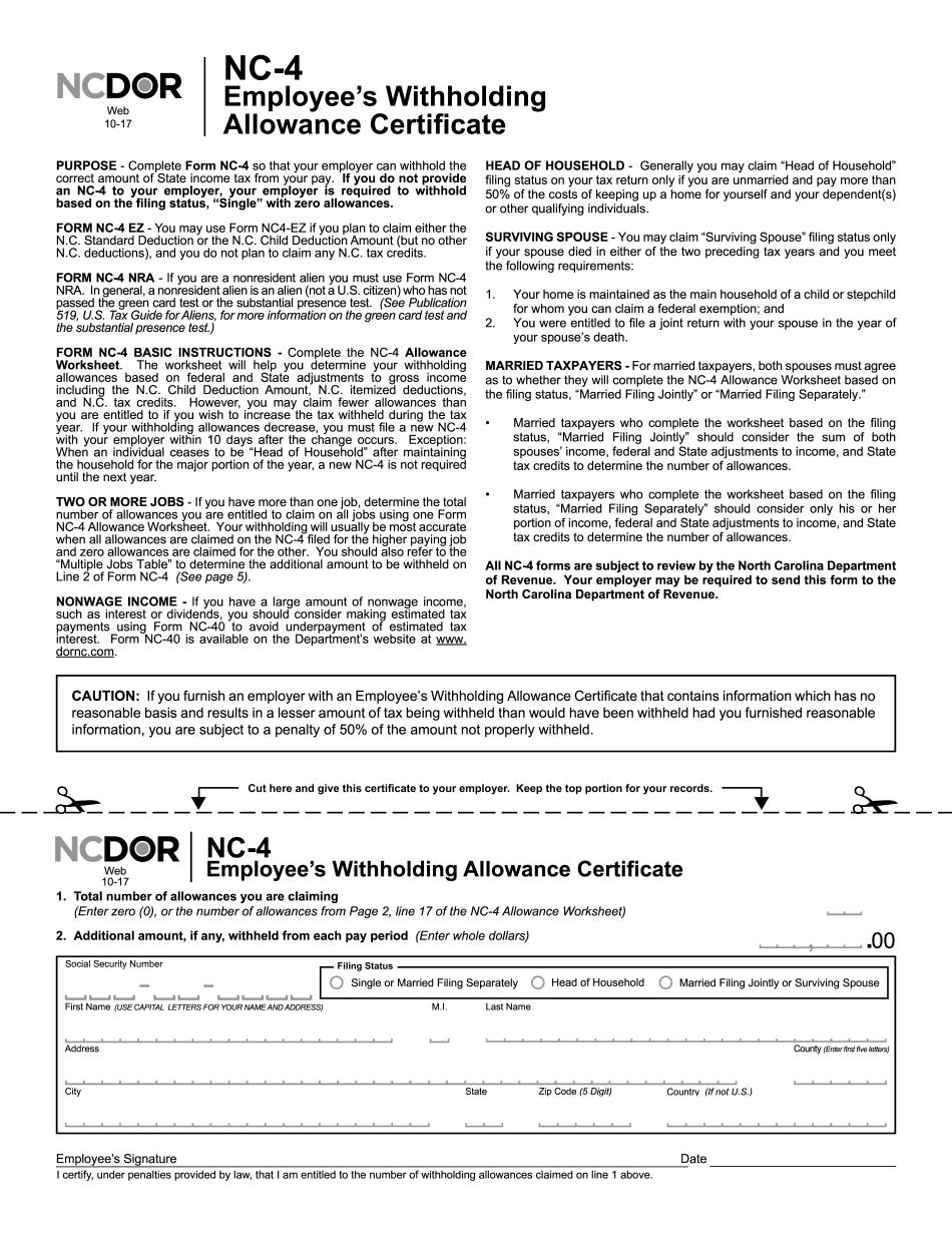 Form NC-4 2017-2021