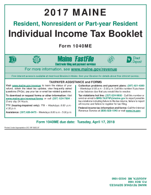 2017 MAINE Individual Income Tax Booklet