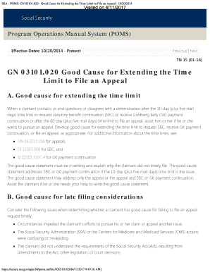 fillable online ssa poms gn 03101 020 good cause for extending rh pdffiller com program operations manual system (poms) social security program operations manual system (poms)