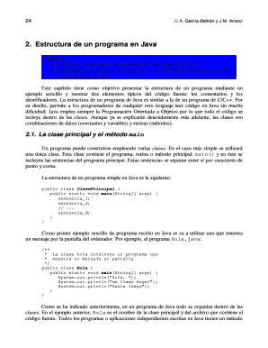 Fillable Online Tema 2 Estructura De Un Programa En Java