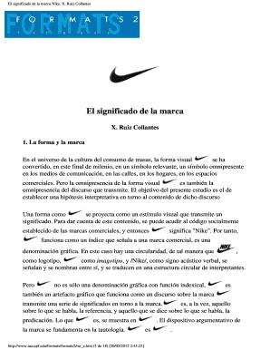 Permiso calificación Falange  Fillable Online El significado de la marca Nike. X. Ruiz Collantes Fax  Email Print - PDFfiller