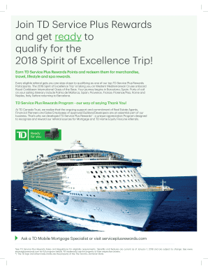 Fillable Online Join TD Service Plus Rewards Fax Email Print