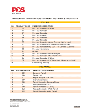 Fillable Online Pos Laju No Product Code Product Description 1 Ep Fax Email Print Pdffiller