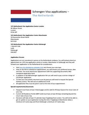Fillable Online Vfs Netherlands Visa Application Centre London Fax Email Print Pdffiller
