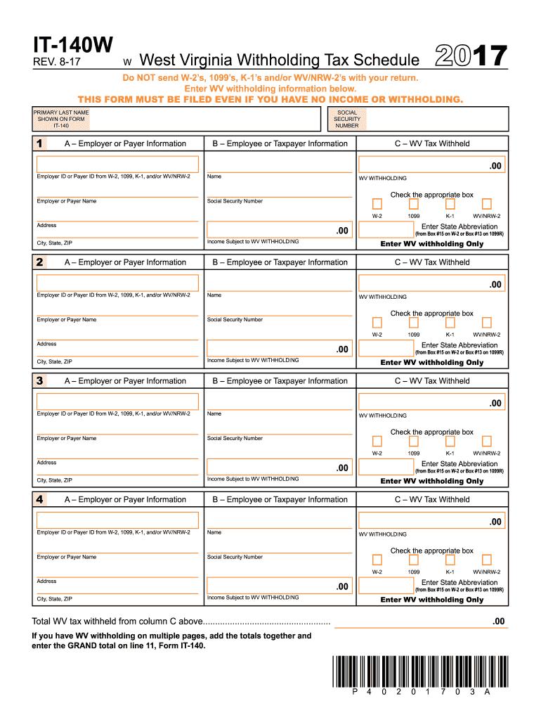 2017-2019 Form WV DoR IT-140W Fill Online, Printable, Fillable