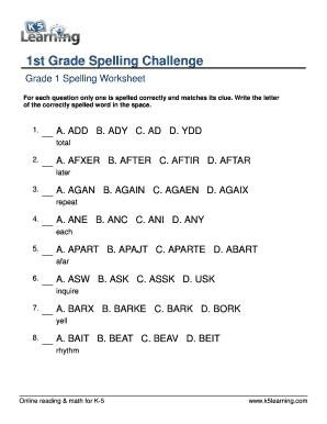 fillable online spelling1st grade spelling challenge words printable first grade 1 worksheet. Black Bedroom Furniture Sets. Home Design Ideas