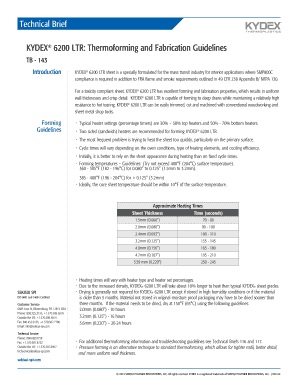 Fillable Online KYDEX Sheet Technical Brief143 - KYDEX 6200