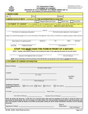 Fillable Online Parental Passport Consent Form Ds 3053 Fax Email
