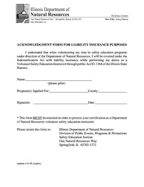 Fillable Online dnr illinois Insurance Form - Illinois DNR - dnr ...
