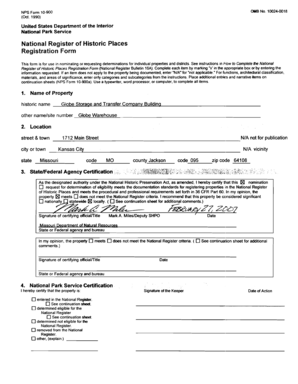See instructions in h b w to Complete the National Register of Historic Places Registration Form (National Register Bulletin 16A) - dnr mo