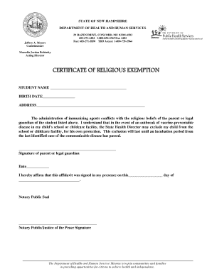 State Of Nh Religious Exemption Form - Fill Online, Printable ...