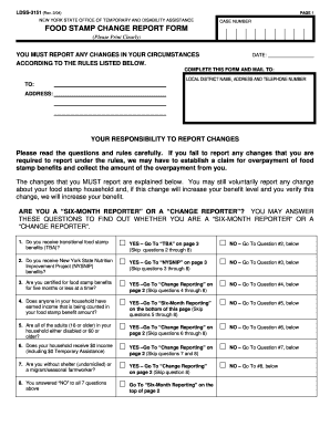 Fillable Online otda ny Food stamp change report form - Office of ...