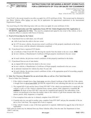 Nys Dmv Sales Tax Form Nys Dmv Plate Surrender Receipt Fill Online ...
