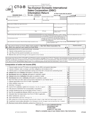 Fillable Online tax ny Form CT-3-B: 2004 , Tax-Exempt Domestic ...