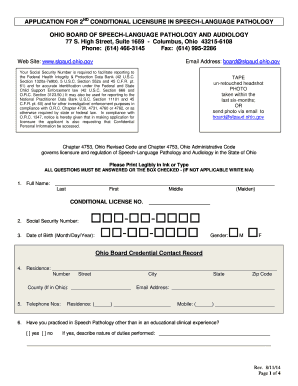 Fillable Online Slpaud Ohio Application For 2nd Conditional
