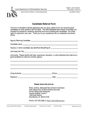 Fillable Online das iowa Candidate Referral Form - Iowa Department ...