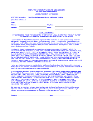 Employee Waiver And Release Form