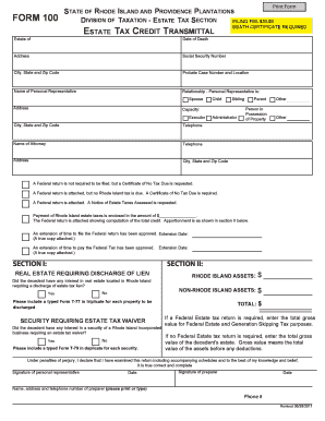 ri division taxation form 100