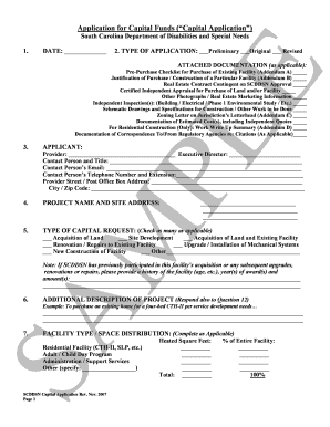 Application for Capital Funds ( Capital Application ) - ddsn sc