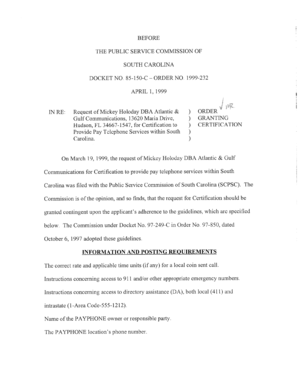 BEFORE BEFORE THE PUBLIC OF SERVICE COMMISSION OF THE PUBLIC SERVICE COMMISSION SOUTH CAROLINA SOUTH CAROLINA DOCKET DOCKET NO 85-150-CNO 85-150-C - dms psc sc