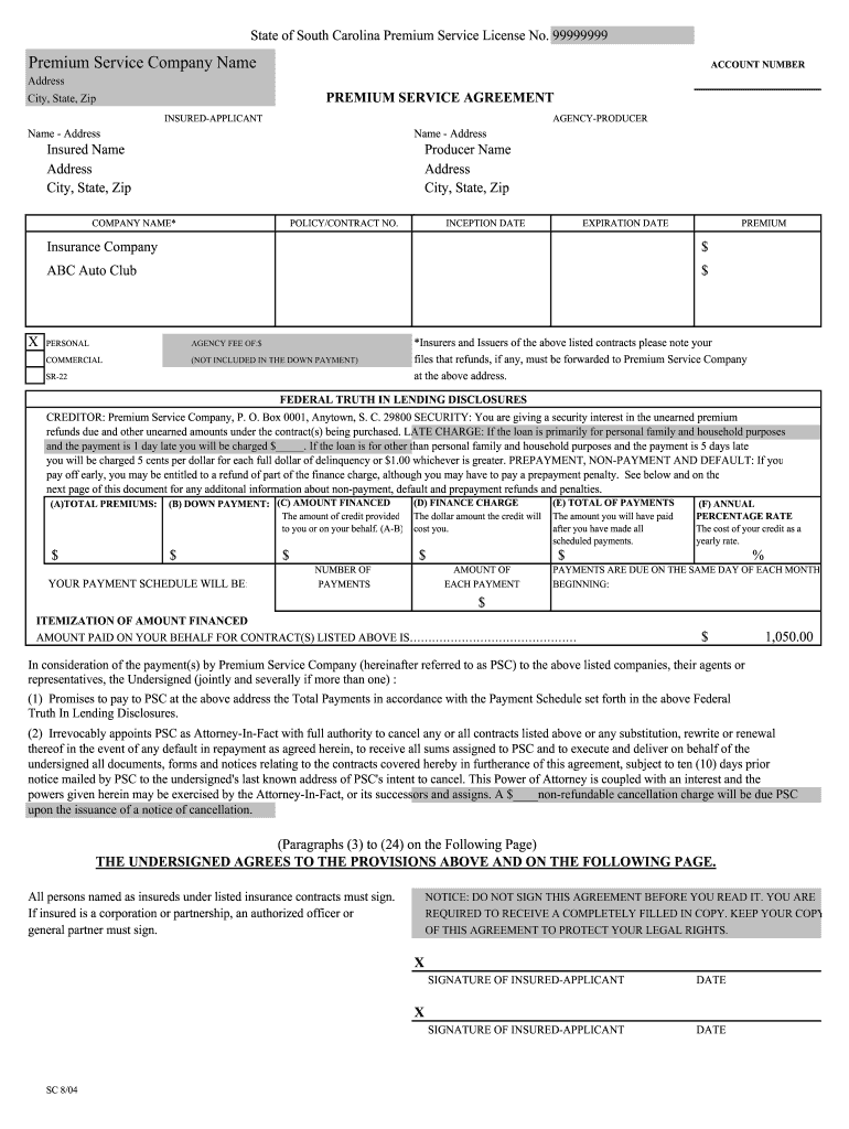 Sample Premium Finance Agreement Fill Online Printable
