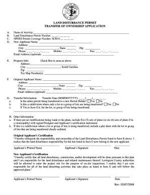 lexington county land disturbance permit transfer of ownership application form