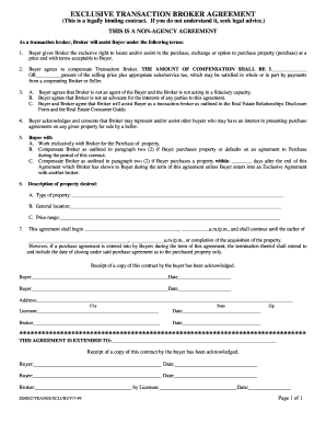 New York Transaction Broker Agreement Form Fill Online