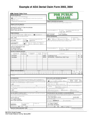 Dental Claim Form 2002 Fillable Fill Online Printable Fillable