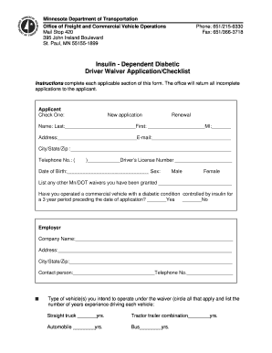 minnesota insulin dependent diabetic waiver form