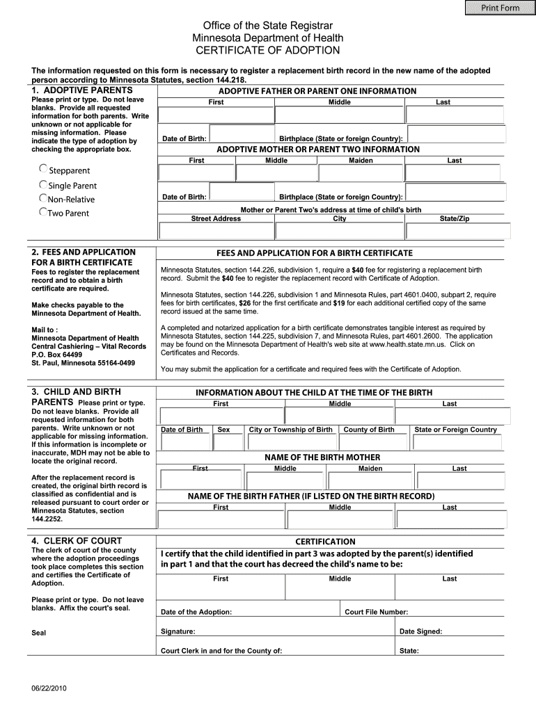 certificate birth adoption amend state mn record application form pdffiller fill