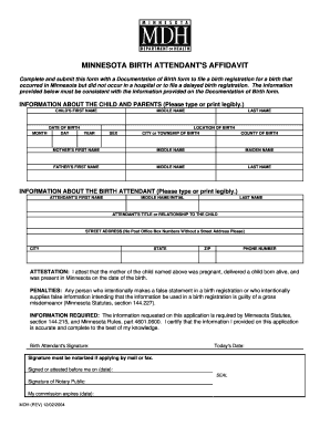 birth attendant affidavit mn form