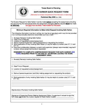 2008 Form TX Safe Harbor Quick Request Form Fill Online, Printable ...
