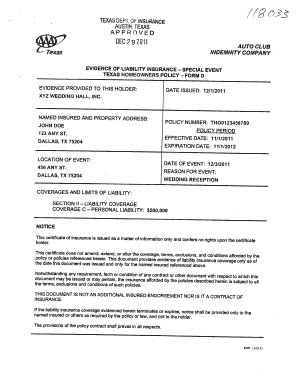 Texas Insurance Homeowner Form D - Fill Online, Printable ...