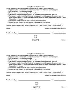 permission slip form for jump on trampoline