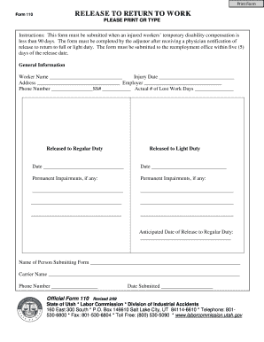 image relating to Printable Return to Work Form named 6 Printable no cost printable physicians be aware for effort and hard work Varieties and