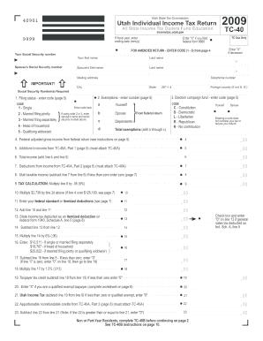 Fillable Online tax utah 2009 TC-40, Utah Individual Income Tax ...