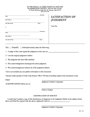 Satisfaction Of Judgment Form - Fill Online, Printable, Fillable ...