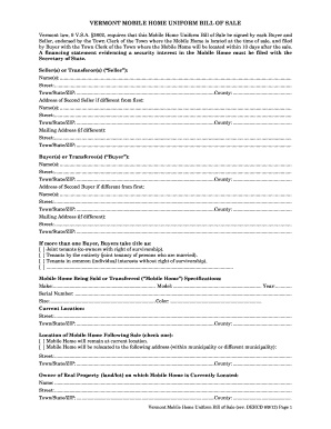 Vt Mobil Home Bill Of Sale - Fill Online, Printable, Fillable ...