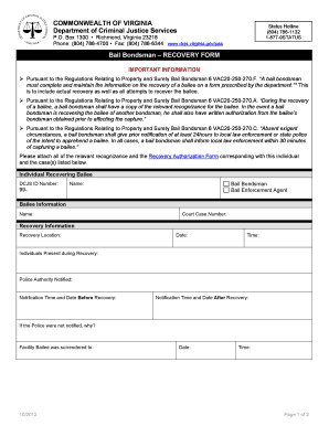 Fillable Online dcjs virginia RECOVERY FORM - Virginia ...
