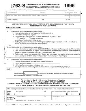 1996 Form VA 763-S Fill Online, Printable, Fillable, Blank - PDFfiller
