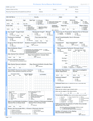 Pertussis Surveillance Worksheet, Appendix 11-508 compliant - vdh virginia