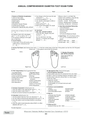 Medicare Diabetic Foot Exam Form Fill Online Printable Fillable Blank Pdffiller