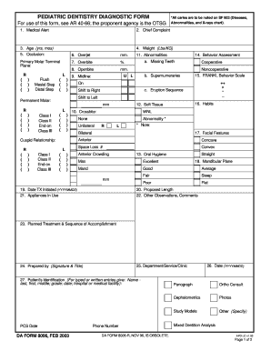 PEDIATRIC DENTISTRY DIAGNOSTIC FORM. DA FORM 8006, FEB 2003 - armypubs army