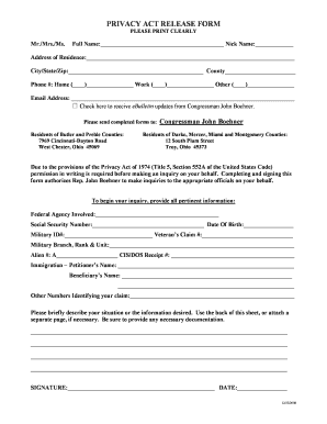 Fillable Privacy Act Release Form