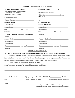 Indiana Counterclaim Form Small Claims - Fill Online, Printable ...