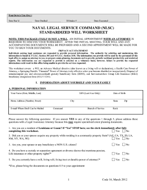 naval legal service command standardized will worksheet form
